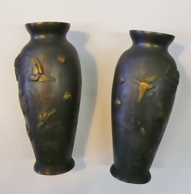 Pair Of Brass Japanese Vases With Metal Overlay